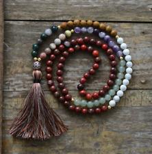 Long gemstone chakra AGATE, JADE & JASPER Boho Mala Perle Collana Di Perline Nappa