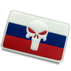 The Russian Federation FLAG Russia RUS FLAG PUNISHER SKULL RUBBER HOOK PATCH -01