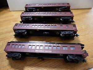 "Williams Pennsylvania Broadway Ltd. 3 Passenger Cars+1 Observation Car ""O"" Scale"