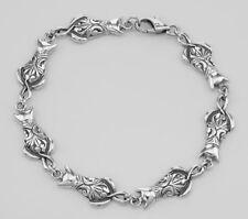 Unique Filigree Cat / Kitty Bracelet - Sterling Silver #Papps97957 Lot 20161102