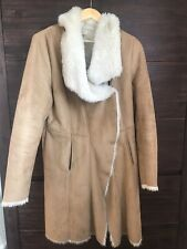 Seen Worn Kept Anthropologie Fur Lined Telly Shearling Coat Suede Camel 10/12 M