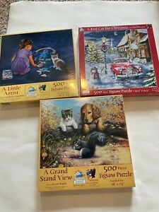 Lot of 3 500 Piece Jigsaw Puzzles from Sunsout - New and Sealed