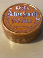 Vintage Reed's Butterscotch Patties Tin 2 3/4 Oz Made by Reed Candy Chicago, Ill