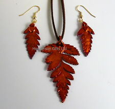 fern real leaf pendant and earring set iridescent copper - real leaf jewellery