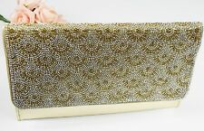 Gold Crystal Diamante Ladies Evening Clutch Bag Bride Wedding Party Purse