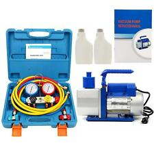 R410A R134A 4.8 CFM Vacuum Pump HVAC A/C Refrigerant W/4VALVE MANIFOLD GAUGE -CA