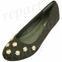 New women's shoes ballerina ballet flats pearl flowers wedding prom Olive green