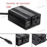 150W 12V-220V Transformador Corriente Coche Convertidor Inversor 2 USB Camping