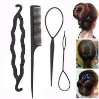 4Pcs Hair French Braid Topsy Tail Clip Magic Styling Stick DIY Bun Maker Tool