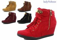 NEW 6 Colors Women's Lace Up High Top Low Wedge Fashion Sneakers Size 5 - 10