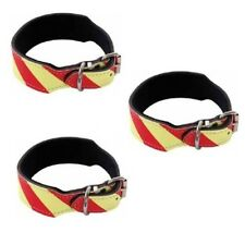 Approved Dangerous Dog Collar 60cm Leather Yellow Red Canine Care