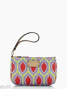 KATE SPADE Cabana Tile Linet Wristlet Purse Clutch NWT Red Crocus Purple Green