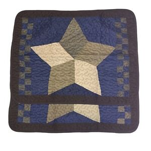 Pem America Quilted Patchwork Pillow Shams Star Americana Blue & Brown