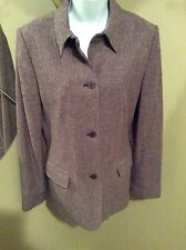 J G Hook Blazer Brown Three Button Wool Blend Size 12