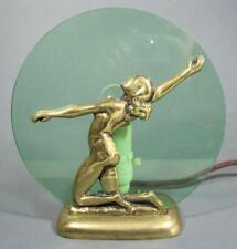 Vintage art deco brass Gloria diana/lady lamp c/w green glass shade- bakelite