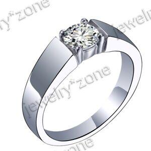 Generous Men's Jewellery Cubic Zirconia Solid 10K White Gold Anniversary Ring