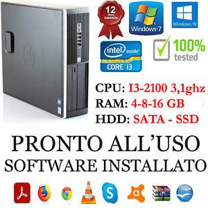 COMPUTER HP 6200 I3-2100 RAM 4-8-16GB DISCO SATA O SSD USB 2.0 GARANZIA 1 ANNO
