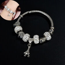 Charm Women Stainless Steel Jewelry Bracelet Bangle Rhinestone Bead Eiffel Tower
