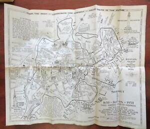 Boston Cartoon Pictorial City Plan Landmarks Local History 1930 folding map