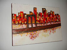 Tableau Peinture à l'huile moderne -  Urban Skyline New York City Manhattan USA