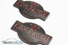 2 (PAIR) MATTE BLACK Ford F250 F350 F450 King Ranch nameplates emblems Badges