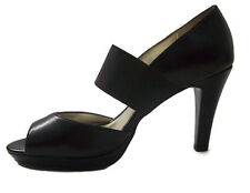 Anne Klein Akextany Womens Black Leather Heels Open Toe Platform Sexy Shoes 9M