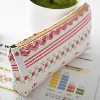 Cosmetic Box Pencil Bag Zipper Makeup Student Stationery New Coin Purse Linen