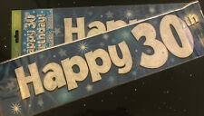 30th  Birthday Banner * Blue Foil * 2.7m will split into 3 * 30th Birthday Party