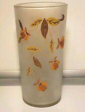 "Hall Jewel Tea Autumn Leaf Drinking Glass Vintage Frosted 5.5"""