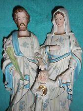 ANCIENNE STATUE RELIGIEUSE/SAINT FAMILLE/VIERGE/ENFANT JESUS/BISCUIT/XIXè/H.30cm