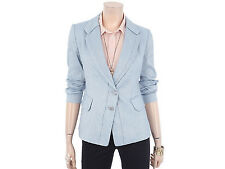 Crocodile Womens Casual Two Slanted Button Front Blazer Jacket S.Blue Size M NWT