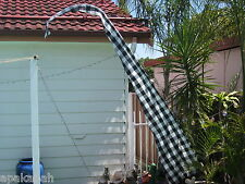 "BALI ""UMBUL UMBUL"" BLACK / WHITE 2 METER CHECK TRADITIONAL FLAG, PEACE, CARMA."