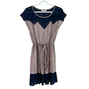 Ya Los Angeles Sleeveless A-Line Short Ruffle Dress Womens L Taupe Blue Lined