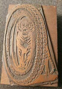 Vintage Newspaper Copper Printing Plate Stamp Wood Block. CAR TRUCK TIRE AD. OLD
