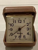 Vintage Portable Foldable Westclox Clock Wind Up Alarm Brown Travel Plastic Case