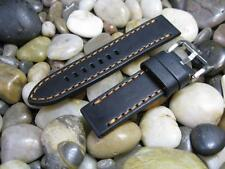 24 mm Alfa Black with Brown Stitching Thick Leather Watch Band strap mens orange