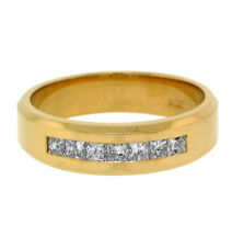 Band 14k Yellow Gold .70ct His Princess Diamond Wedding