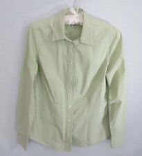 Liz Claiborne light green white striped cotton blend long sleeve blouse *Sz M*