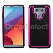NEW HOT! Hybrid Rugged Rubber Protector Hard Case for Android Phone LG G6 Pink