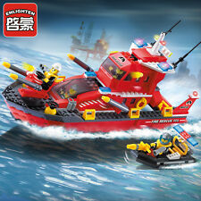 339pcs ENLIGHTEN Fire Rescue Series Fire Boat Building Blocks Minifigures Toys