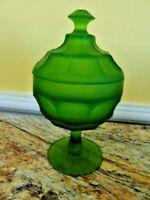 vintage Frosted Green Depression Glass Candy Dish Lid lidded Heisey ? Pedestal