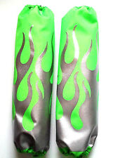 Shock Protector Covers Ski-Doo Bombadier Silver Flames on Neon Green Snowmobile