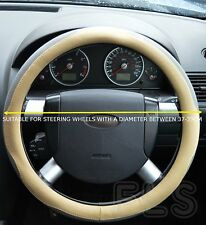 UNIVERSAL NISSAN FAUX LEATHER LOOK BEIGE/GREY STEERING WHEEL COVER