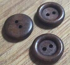 10 X 25mm Brown Wooden Buttons - Australian Supplier