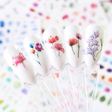 24 Sheets Nail Art Stickers Watercolor Water Transfer Decals Flowers DIY Tips