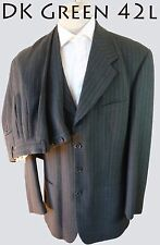 ZANETTI Olive GREEN suit 42L  Merino Wool Super 100s Luigi Botto fabric ITALY 34