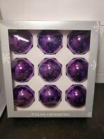 Vintage Christmas Glass Ornaments Shiny Ball Large Purple 2.5 inch 💜 9pc Target