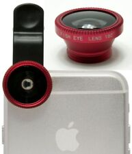3-in-1 180° Red Fish Eye Fisheye+Wide Angle+Macro Lens Clip On for iPhone 5 5s