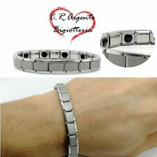 bracciale magnetico uomo braccialetto acciaio da inox in elastico 18 rigido per