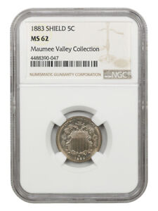1883 Shield 5c NGC MS62 ex: Maumee Valley Collection - Shield Nickel